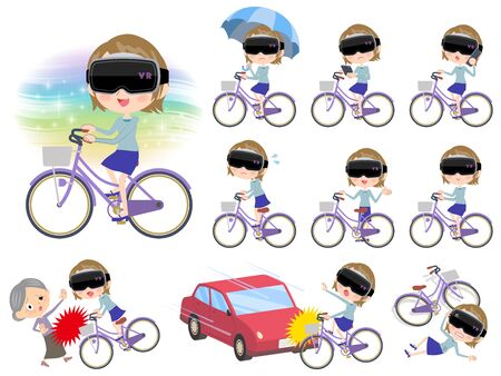 Woman wearing virtual reality goggles and riding a bike in different scenarios