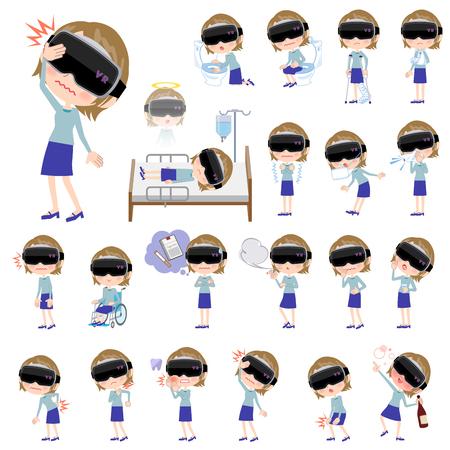 Tragende Schutzbrillen der virtuellen Realität der Frau in der unterschiedlichen Illustration der Krankheit Standard-Bild - 89318591