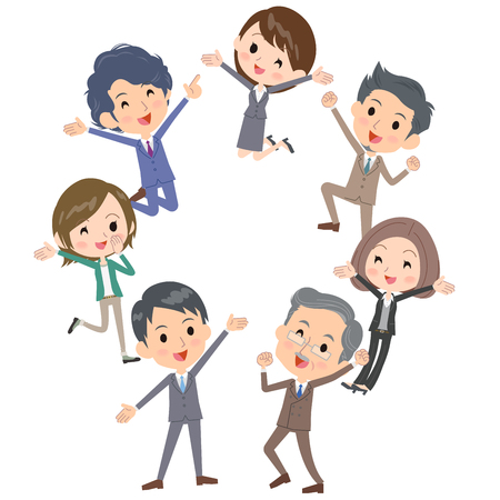 Happy business people gathering together. Illustration