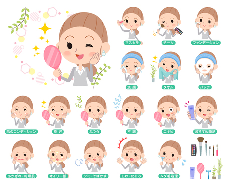 A girl try different type of beauty treatment. Illustration