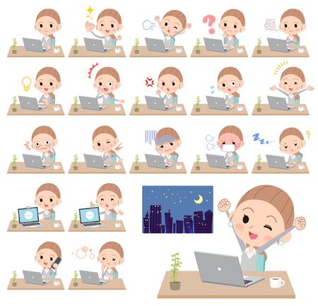 ilustración diferente de un estudiante trabajando delante de la computadora que expresa el conocimiento digital o emociones