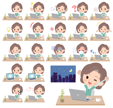 Different illustration of a student working in front of the computer displaying different actions, moods or emotions Stock Vector - 90040104