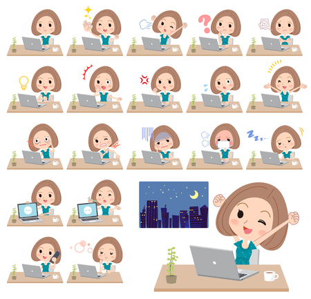 Different illustration of a student with bob haircut, wearing a green dress and working in front of the computer displaying different actions, moods or emotions 向量圖像