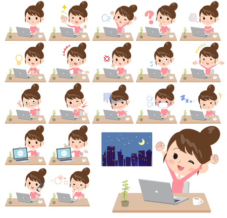 Different illustration of a girl with bun hair working in front of the computer displaying different actions, moods or emotions