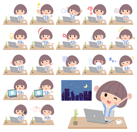 Different illustration of a student with bob haircut with bangs working in front of the computer displaying different actions, moods or emotions