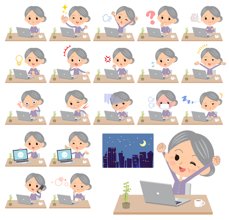 Different illustration of a grandmother wearing a purple long-sleeve working in front of the computer displaying different actions, moods or emotions