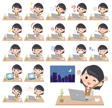 Different illustration of a student wearing a brown blazer working in front of the computer displaying different actions, moods or emotions