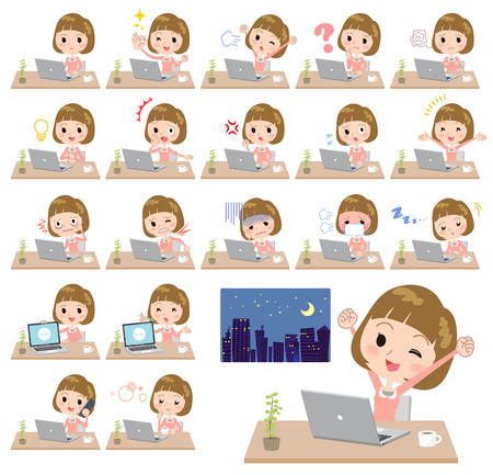 Different illustration of a student with bangs working in front of the computer displaying different actions, moods or emotions