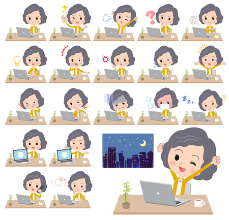 Different illustration of a student wearing a yellow jacket and working in front of the computer displaying different actions, moods or emotions