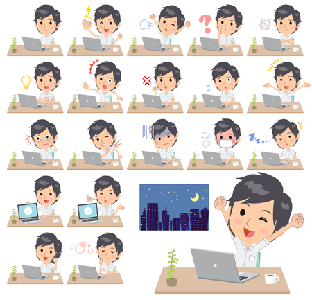 Set of various poses of Bun hair mom working Stock Vector - 91315696