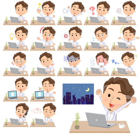 Middle aged man at desk working Stock Vector - 91315697