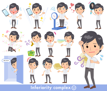 White short sleeved men doing various tasks Illustration
