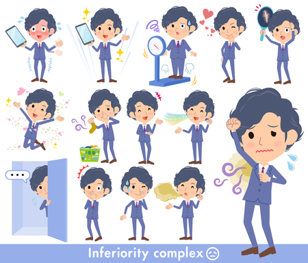 Navy blue suit perm hair men with inferiority complex in cartoon illustration.