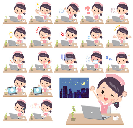 Nurse with different emotions at work vector illustration Illustration