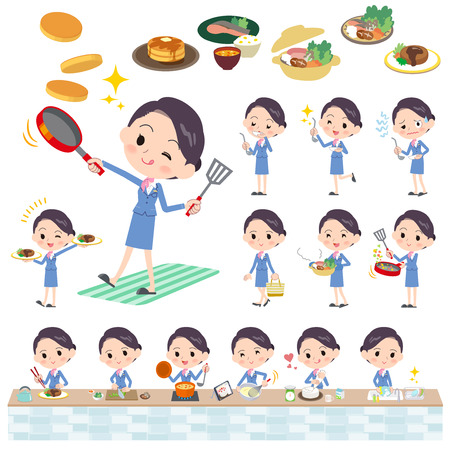 Women cabin attendant wearing blue clothes cooking, Vector illustration.