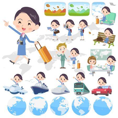 Cabin attendant blue women, travel Vector illustration. 向量圖像