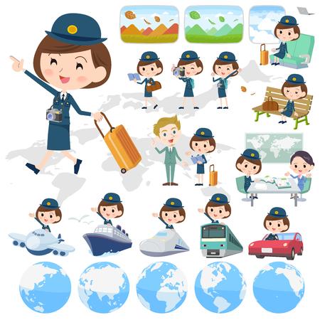 policewomen vector set