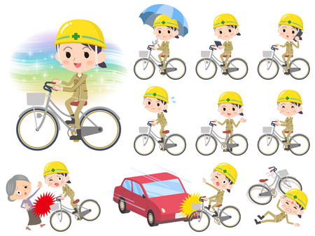 Set vector illustration of women wearing hard hat while biking.