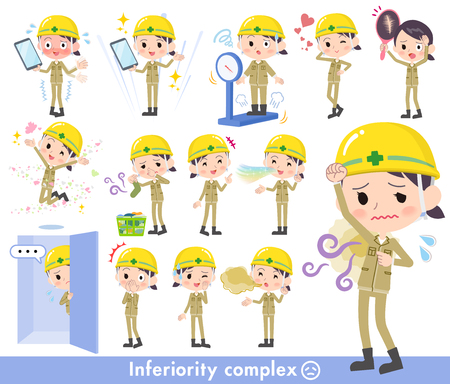 Set vector illustration of women wearing hard hat.