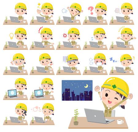 helmet construction worker women_desk work Stock Vector - 92140199