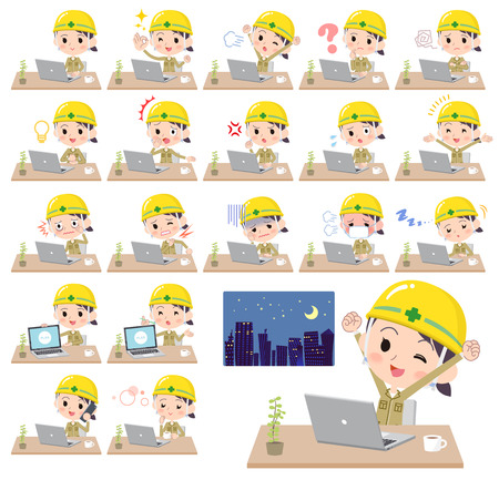 helmet construction worker women_desk work Illustration