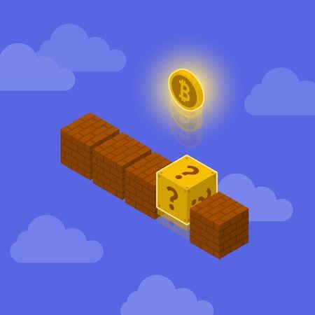 壁レンガの概念を持つビットコイン画像イラスト  イラスト・ベクター素材