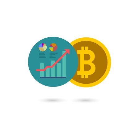 経済変化の概念を持つビットコイン画像イラスト