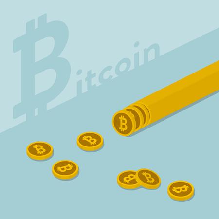 スライスされたコインとビットコイン画像のイラスト  イラスト・ベクター素材
