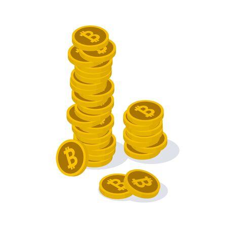積み重ねられたコインの概念を持つビットコイン画像のイラスト