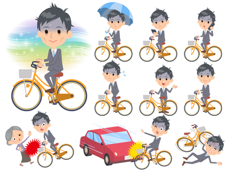 Gray Suit Businessman Bad condition city bicycle Vector illustration.  イラスト・ベクター素材