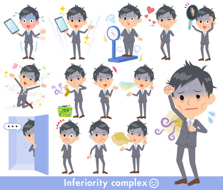 Gray Suit Businessman Bad condition Vector illustration. Illustration