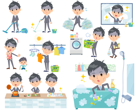 Gray Suit Businessman Bad condition Vector illustration. Illustration