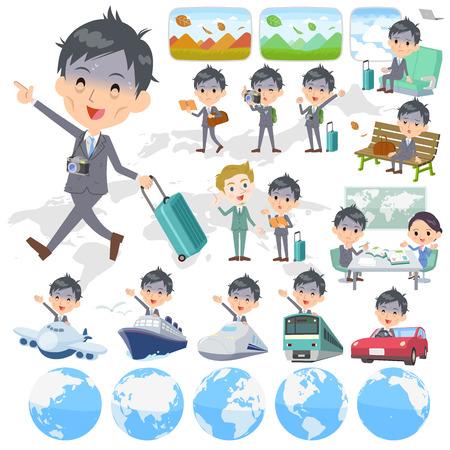 Gray Suit Businessman Bad condition travel Vector illustration.