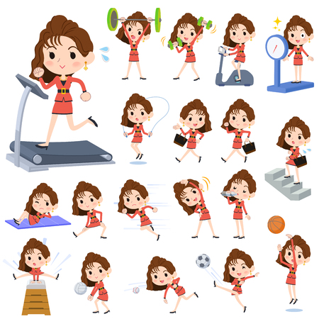 90's fashion women Sports and  exercise Vector illustration. Vettoriali