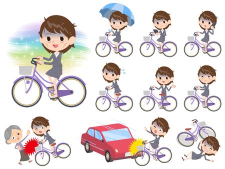 Grijs pak zakelijke dames Bad condition_city fiets Stock Illustratie
