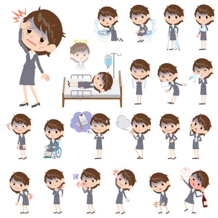 Grijs pak zakelijke vrouwen Slechte toestandziekte Stock Illustratie
