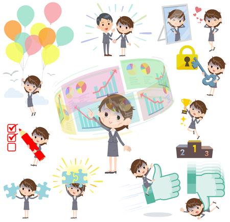 Gray suit business women Bad condition_success & positive Illustration