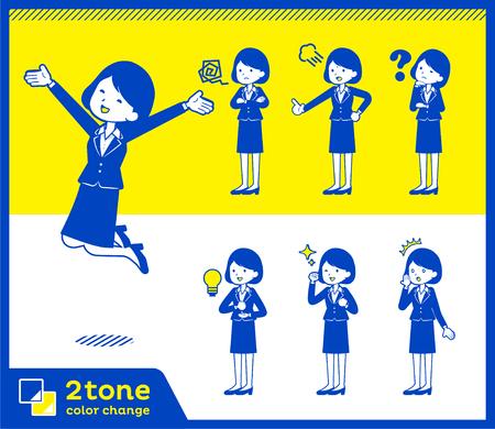2tone type suit business women_set 1 Illustration