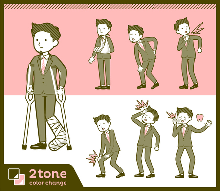 2tone type suit short hair beard men_set 8  イラスト・ベクター素材