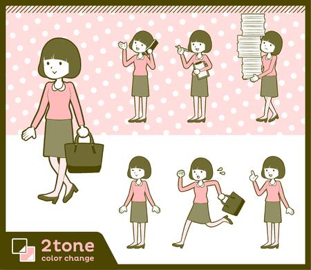 2tone type Straight bangs hair blouse woman_set 2
