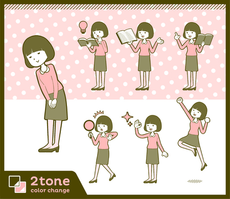 2tone type Straight bangs hair blouse woman_set 5