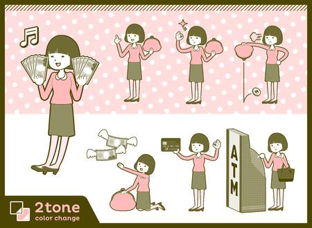 2tone type Straight bangs hair blouse woman_set 11