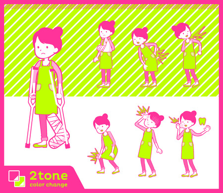 2 tone type Ballet Bun hair Apron mom illustration.