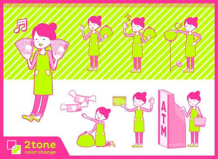 2 tone type Ballet Bun hair Apron mom illustration.