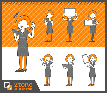 Bob hair dress woman in two tone illustration. Vettoriali