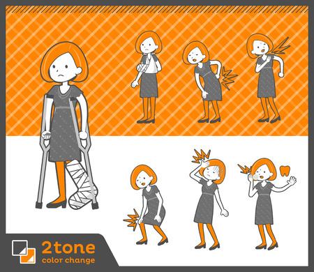 Bob hair dress woman in two tone illustration. Illustration