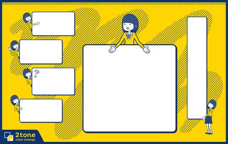 School girl Blazer two tone design. Illustration