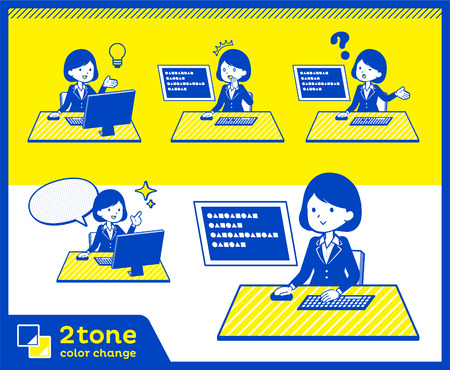 Two tone type suit business women Vector illustration.