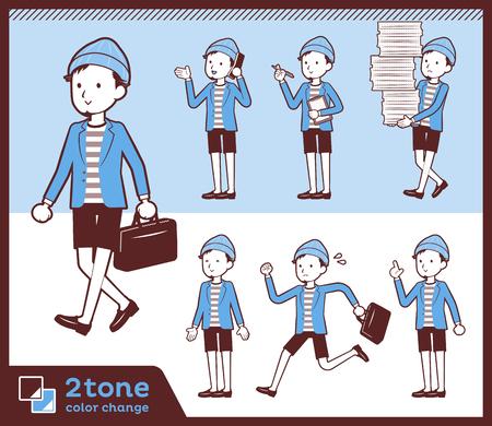 2tone type Jacket Short pants men_set 02 Illustration
