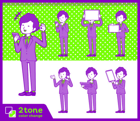 Two tone type suit perm hair men Vector illustration.